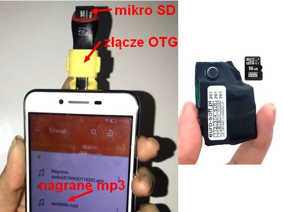 Mini dyktafon wykonuje nagranie w standardzie mp3. Nagranie to jest zapisywane na karcie SD. Kartę tą można odsłuchać na telefonie komórkowym urzynając stosownej aplikacji.